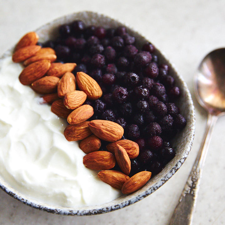Greek yogurt, frozen wild blueberries, almonds